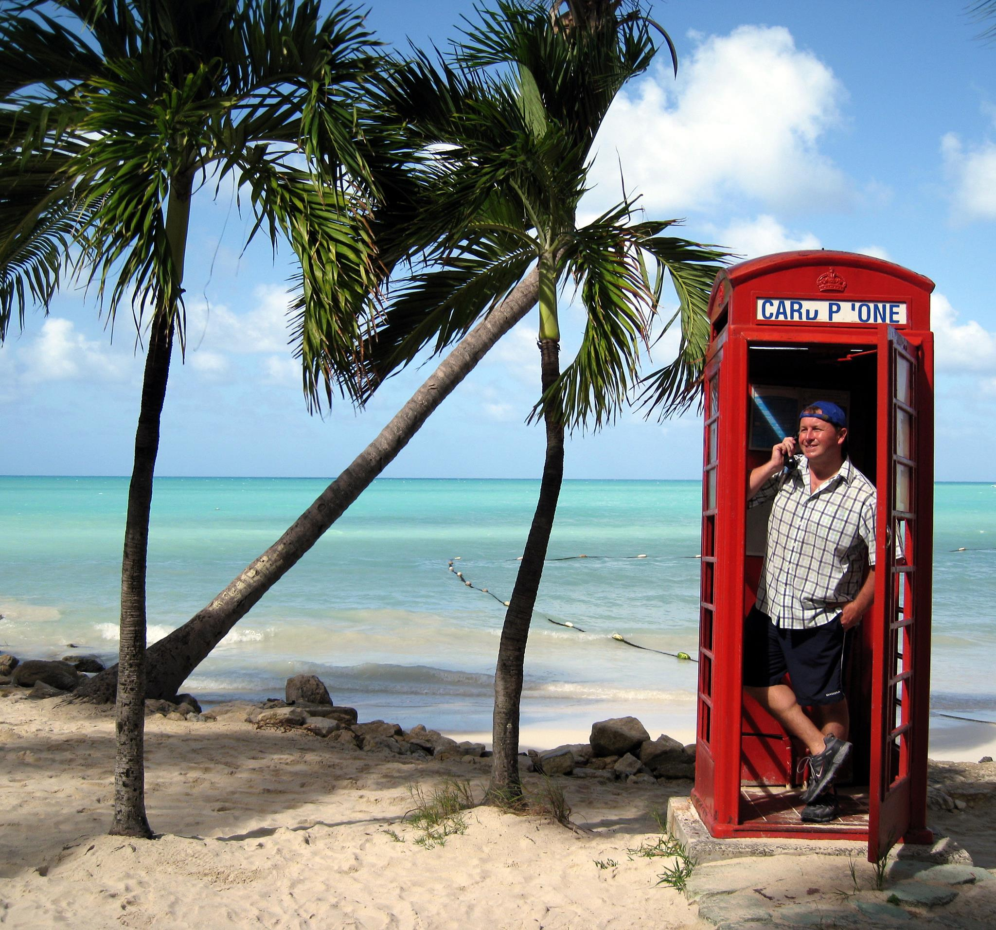 Antigua, Caribbean. Making a call from Dickensen bay