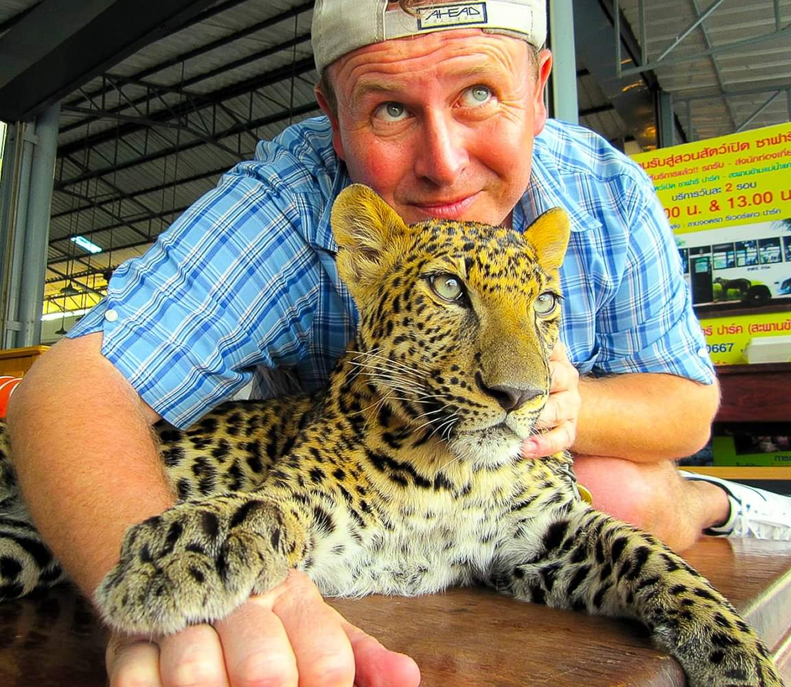 Kanchanaburi, Thailand. Me and Larry the Leopard