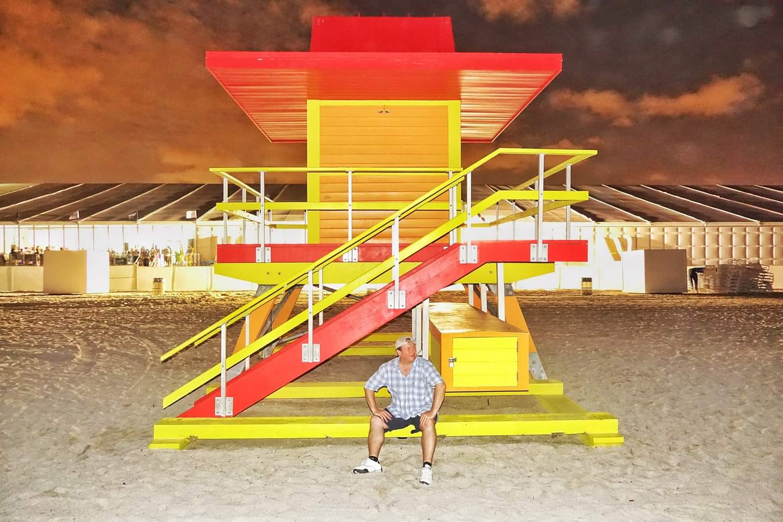 Miami, USA. Art Deco South Beach and its coloured lifeguard huts